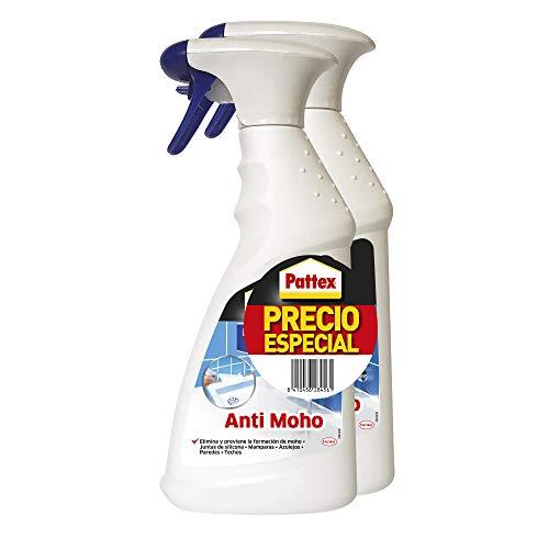 Pattex Baño Sano Anti Moho, limpiador antimoho para juntas de silicona, mamparas y azulejos, spray limpiador para eliminar y prevenir la aparición de moho, 2 x 500 ml