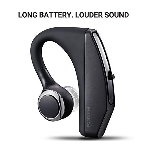 New Foxica Bluetooth4.2 Ultra Compact Long Battery Life Bluetooth Headset, Built-in Mic, Loud Sound, Light Weight, Fit Both Ears - iPhone/Ipad/Android Phone