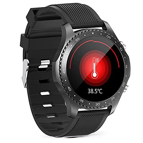 HQPCAHL Smartwatch Reloj para Hombre Android iOS con Llamada Bluetooth Monitor de Temperatura Frecuencia Cardíaca Presión Arterial Spo2 Sueño Control de música, Monitores de Actividad,Negro