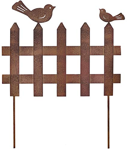 Metall Stecker Zaun mit 2 Vögeln Rost-Optik Gartenstecker Rankhilfe Rasenstecker Beetstecker Deko B=33 cm