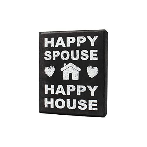 JennyGems Happy Spouse Happy House Wood Sign   Gift for Husband   Gift for Wife   Wedding Gift   Love Decor   Home Accent Plaque   Wall Hanging   Marriage Sign   Just Married