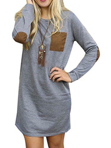 Clothink Women Gray Tassel Detail Long Sleeve Sweatshirt Dress Top