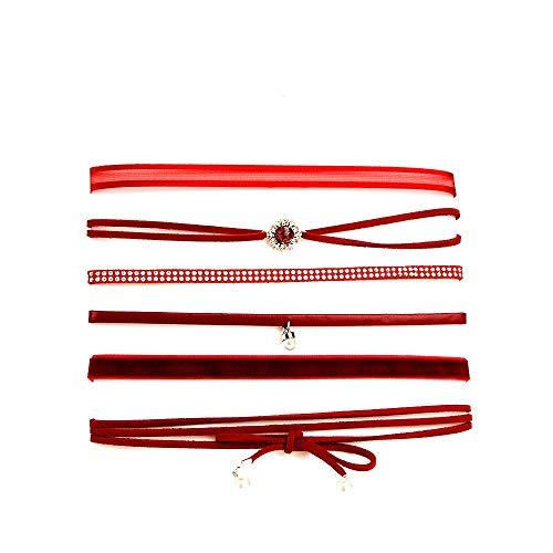 Daimay 6 PCS Conjunto de Collar de Gargantilla de Encaje Collar de Tatuaje gótico Gargantilla de Encaje Sexy Tamaño Ajustable Moda Mujer Adolescente Mujer - Rojo Oscuro