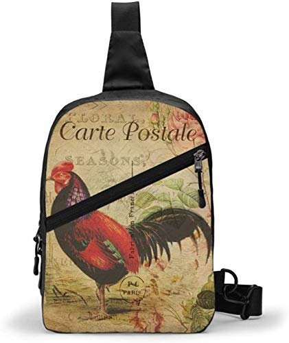 Vintage Rooster Sling Bag,Crossbody Shoulder Chest Outdoor Hiking Travel Personal Pocket Bag for Women Men Water Resistance