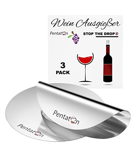 Pentaton - Salvagoccia di vino, strumento di versamento per evitare il gocciolamento, piastrine versatori di vino riutilizzabili senza gocciolamento (confezione da 3)