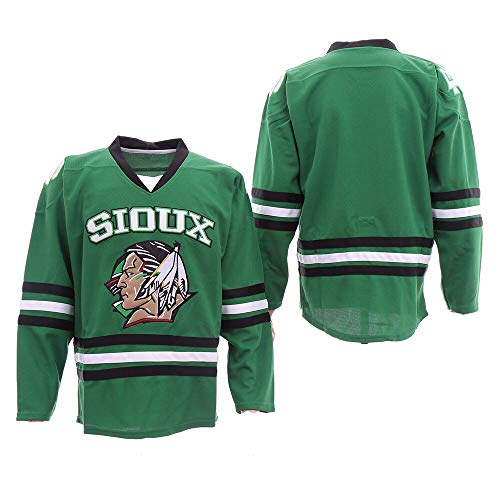 Custom Sioux Men's Movie Hockey Jersey Personalized Your Name Number Sweater (Green, 5XL)