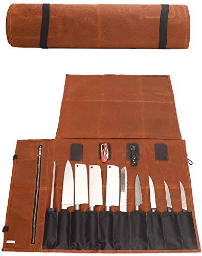 JURONG Bolsa de herramientas de lona encerada para cuchillos de chef, 16 onzas, impermeable, bolsa de herramientas con 15 ranuras, bolsa de almacenamiento para utensilios de cocina (Khaki)