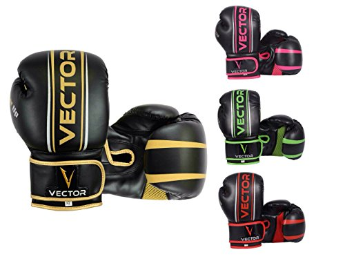 Vector Sports, guantoni Realizzati a Mano in Pelle Bovina Maya, Stile Professionale, da Boxe, Kickboxing, Allenamento con Sacco, 227-453,5Grammi, Rosa, 14 oz