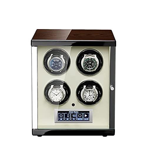 SGSG Caja enrolladora automática de Reloj 4, con iluminación LED y Control de Pantalla táctil LCD, Exterior de Pintura de Piano de Carcasa de Madera, 4 Modos de rotación, Quite Motors