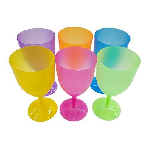 Toyvian Tazas Desechables plásticas de la Bebida de los vidrios de consumición del cubilete del Vino Colorido 12pcs para el Partido (Color Mezclado)