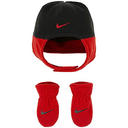 Nike Baby Trapper Hat and Mittens 2 Piece Set (Black(6A2779-R1N)/Red, 12-24 Months)