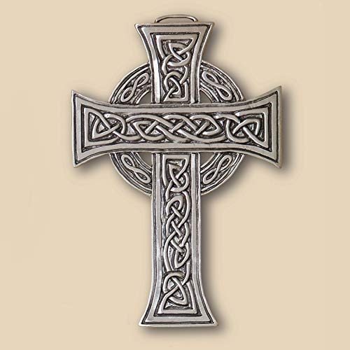 Cynthia Webb Designs Celtic Cross Pewter Wall Plaque with Creme Hanging Ribbon – Handcrafted in the USA