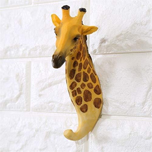 CCLLtuy Creative jirafa animal decoración de la pared gancho puerta puerta gancho bolsa de la suspensión llavero titular de las llaves de las llaves de las llaves de los múltiples propósitos para el h