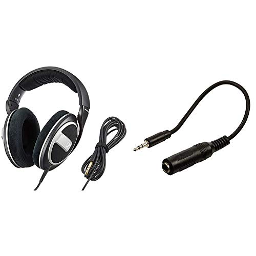 Sennheiser HD 559 - Auriculares de Diadema Abierto (6.3 mm), Color Negro + Valueline VLAP22550B02 - Cable Adaptador de Audio - Conector estéreo de 3.5mm Macho a Conector estéreo de 6.35mm - 20cm