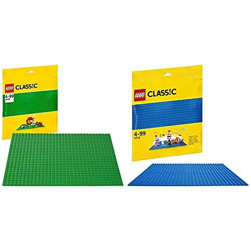 LEGO Classic - Base de Color Verde, Juguete de Construcción Que Mide 25 centímetros de Lado + Base Azul de Juguete de Construcción de 25 cm de Lado