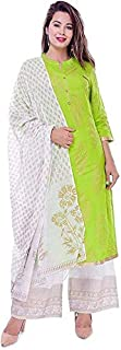 Narsinhenterprises Women's Rayon Green palazzo set with dupatta