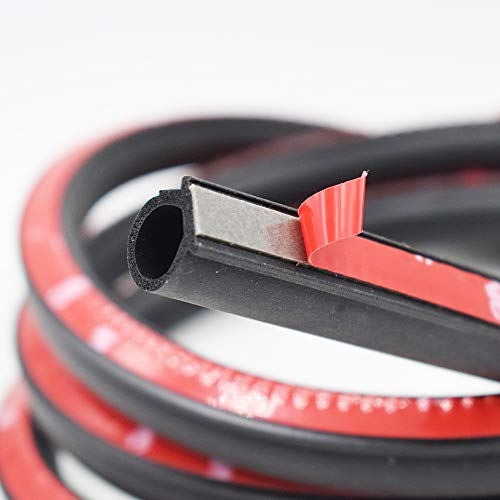 Weather Stripping Large Gap Hollow Seal Strip for Doors/Windows Self-Adhesive Backing Seals EPDM Rubber D-Shape Car Truck Door Window Weather Strip Soundproof Noise Insulation Sealing Black (10 feet)