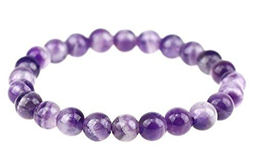 Pulsera elástica de piedras preciosas naturales de 17,78 cm con cristales curativos (unisex)
