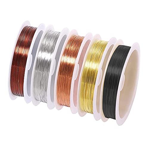 LUOGE Alambre para joyas de 0,3 mm, alambre de cobre resistente al deslustre, hilo de plata para manualidades y fabricación de joyas (5 rollos de calibre 28).