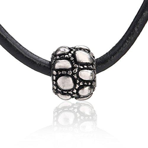 DonDon Unisex Collar de Cuero de 50cm con Colgante de Bola de Color Plata en una bolsita de Terciopelo