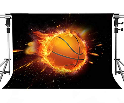 Passion Basketball Backdrop for Party Photography MEETSIOY Intense Basketball Game Basketball Flame Background Basketball Fans Party Backdrop Photo Booth Studio Props 7x5ft PMT346