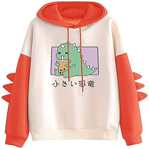 Tekaopuer Sudaderas con capucha para mujer, suéter casual de manga larga de dibujos animados con costuras impresas para señoras sueltas blusa Tops, Z1-rojo, L