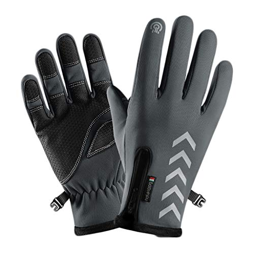 Voberry Winter Gloves Unisex Winter Thermal Waterproof Windproof Screen Induction Glove for Running Cycling Biking Riding Driving Outdoor Sports Gloves for Men Women (Gray, XL)