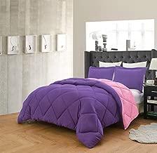 Empire Home 3 Piece Solid Alternative Dayton Comforter Set 16 Color Combinations (Rose/Purple, Queen)