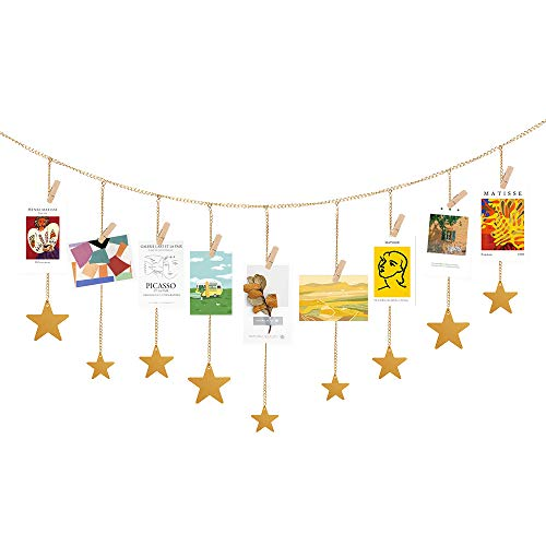 Alotpower Hanging Photo Display Wood Stars Garland with Chains Decoration Picture Frame Collage with 30 Wood Clips Wall Art Display for Home Office Nursery Room Dorm Display (Gold)