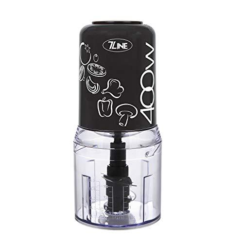 Mini picadora negra – 7 Line – 400 W – 4 cuchillas de acero inoxidable – Multifunción – Cuenco: 500 ml