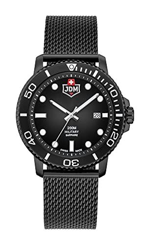 JDM Military Tango Swiss Made 44mm Reloj con esfera negra, cristal de zafiro engastado en una caja IP negra y pulsera milanesa