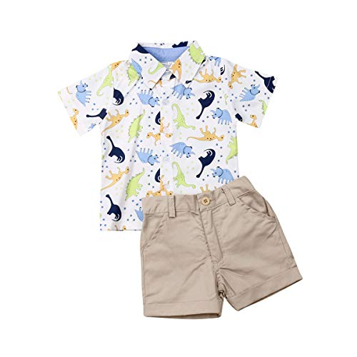 Geagodelia - Conjunto de ropa de verano para bebé de manga corta con estampado de dinosaurios y calcetines, 2 piezas Cachi 12-18 meses