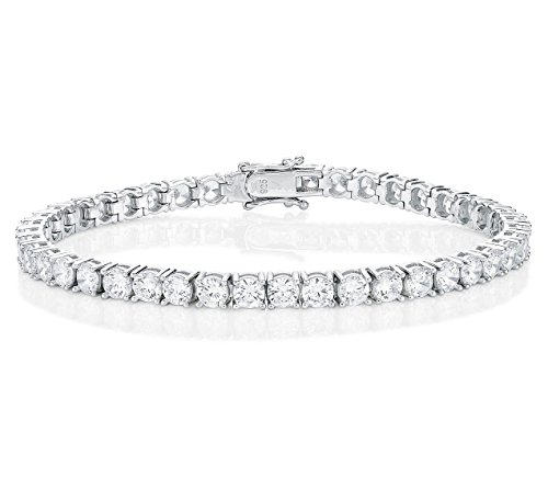 Diamond Treats Womens Tennis Bracelet, solid 925 STERLING SILVER with 4mm AAA Grade Super Sparkling White Cubic Zirconia. This 8 inch Ladies Eternity Bracelet is the Perfect Jewellery Gift for Women.