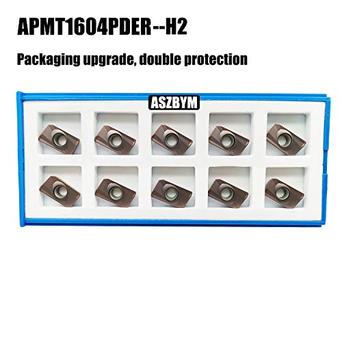 ASZLBYM 10PCS APMT1604 PDER-H2 Carbide Milling Insert Used for Indexable Face Mill and End Mill, for Roughing Steel, Cast Iron, Stainless Steel and Aluminum (APMT1604PDER H2)