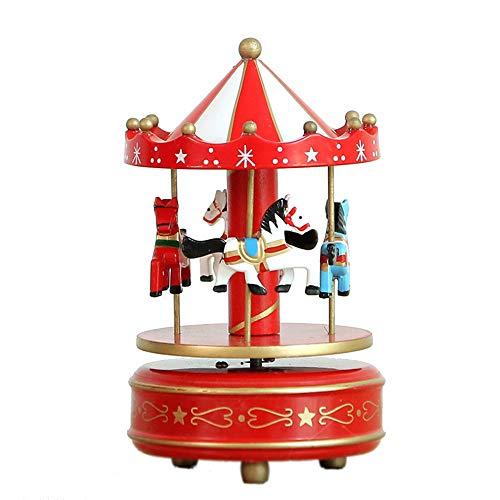 MINGZE Cajas Musicales, Caja de música de Madera Europea con 4 Caballos con carrusel, para niñas Niños Niños Bebé Navidad Cumpleaños Cumpleaños Regalo (Star-Red+White)