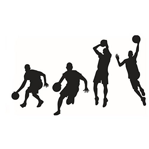 VOSAREA Jugadores de Baloncesto Etiqueta de la Pared Vinilo removible Inspiración Decoración de la Pared Arte de la Pared para la Sala de Clase - Negro