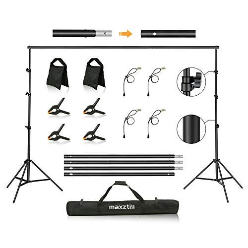Background Support Stand, Maxztill 8.5 x 10 ft Adjustable Background Stand Backdrop Support System Kit with Carry Bag, Sandbag for Photo Video Studio