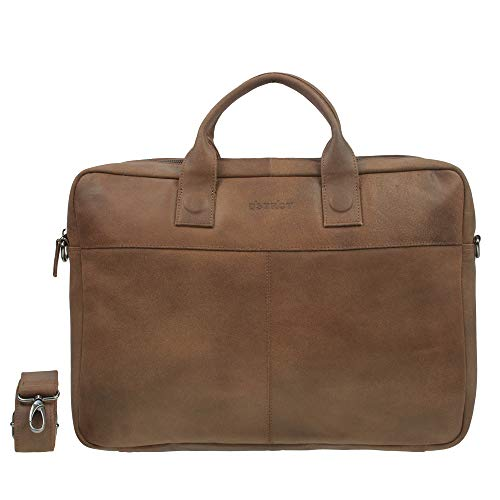 DSTRCT Fletcher Leren Business Laptoptas - 17,3 inch laptopvak met rits - Cognac