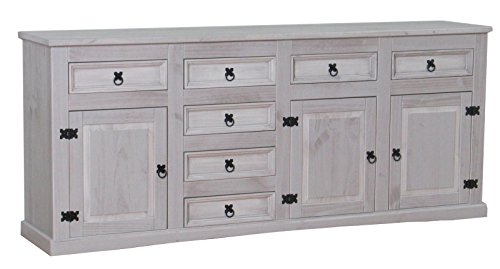 Dynamic24 Sideboard New Mexiko Kiefer massiv grau Mexico Schubladen Kommode Schrank