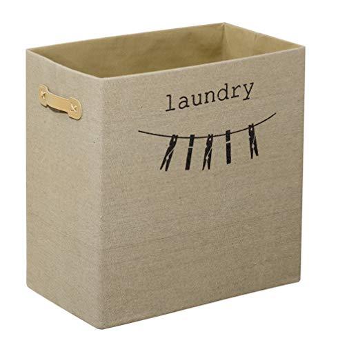 FACKELMANN Wäschebox/Faltbare Box in Leinen-Optik/dekorative Wäschebox mit Aufdruck/Maße (B x H x T): ca. 45 x 45 x 25 cm/Farbe: Beige/passend Schränke mit min. 45 cm Breite