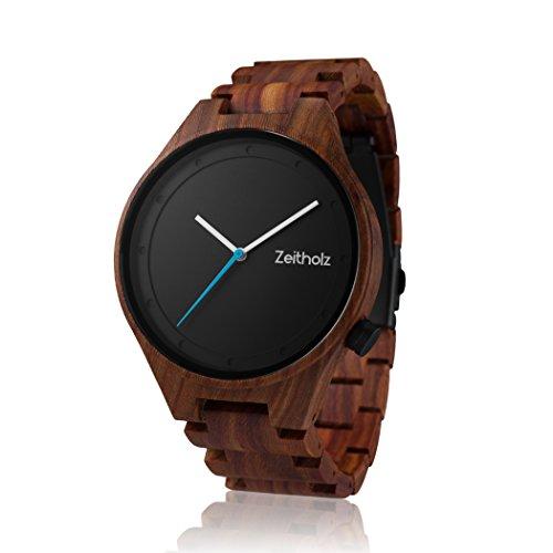 Zeitholz Sandelholz Holzuhr für Herren - Zeitholz Sandelholz Holzuhr für Herren - Modell Stolpen - Leichte analoge Uhr mit Holzmaserung für Ihn - Verstellbares Armband passt an jedes Handgelenk
