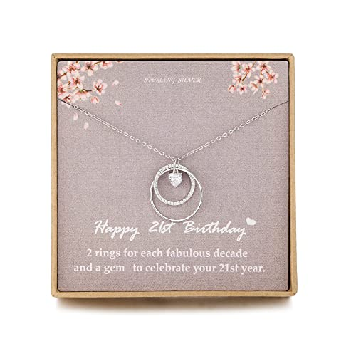 NOURISHLOV Birthday 21st Gifts for Her, Sterling Silver 2 Circle CZ Necklace Gift for Women,21 Year...