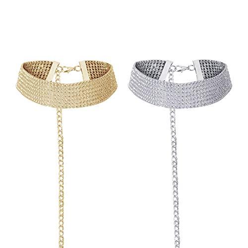 Damen Halskette Schmuck Halsband Choker Kette mit Strass Für Party Hochzeit für Geschenk Frauen Mädchen (B(1 Gold+1Silber))