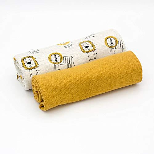 Kleines Stoffpaket - 0,5m Baumwoll-Jersey Stoff + 0,5m Bündchen Nele - zum Nähen von Kinderbekleidung - Kinderstoff - Muster-Mix (Löwe Ecru meliert + Bündchen senf)
