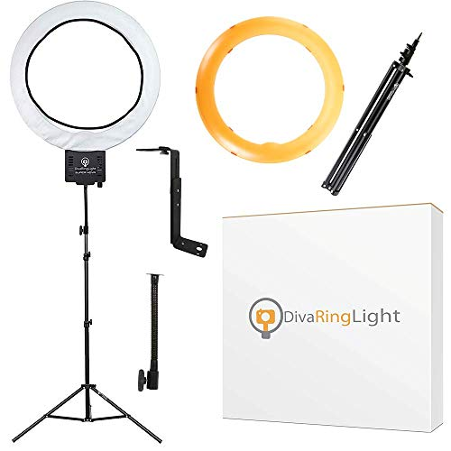 """Diva Ring Light Super Nova 18"""" Dimmable w/ 6' Stand - Professional Studio Lighting Kit for YouTube, Facebook Live, Twitch, Photography, and Beauty Blogging"""