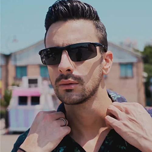 Duco Mens Sports Polarized Sunglasses UV Protection Sunglasses for Men 8177s(Black Frame Gray Lens)