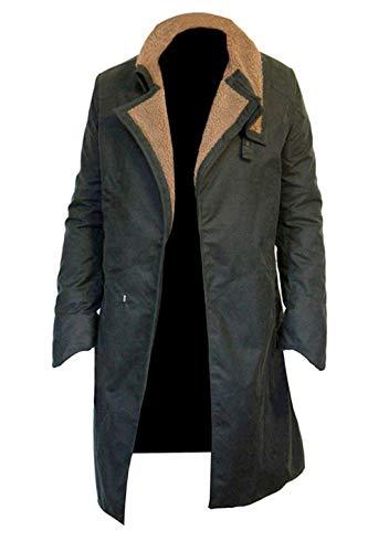Western Fashions Herren, Damen Blade Runner 2049 Ryan Gosling Waxed Cotton Dunkelgrüner Mantel -m