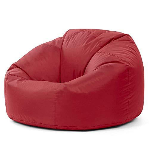 Bean Bag Bazaar Sillón Tipo Puf Clásico - 84cm x 70cm, Puf Grande para Interiores y Exteriores (Rojo Oscuro, 1)