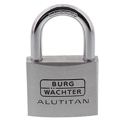 BURG-WÄCHTER Vorhängeschloss Aluminium, 8 mm Bügelstärke, 50 mm Bügelhöhe, 2 Schlüssel inkl., Alutitan 770 50 SB
