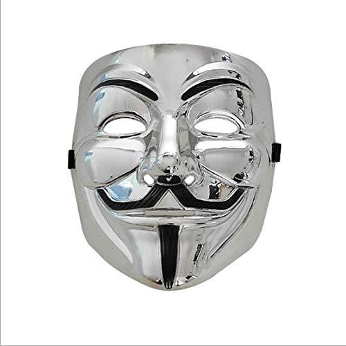 Máscara V Vendetta Careta de V para Vendetta Plata Mask Horror Divertido Scary Máscara anónima Cosplay Guy Fawkes Halloween Mascarada, Carnaval, Festivales de música